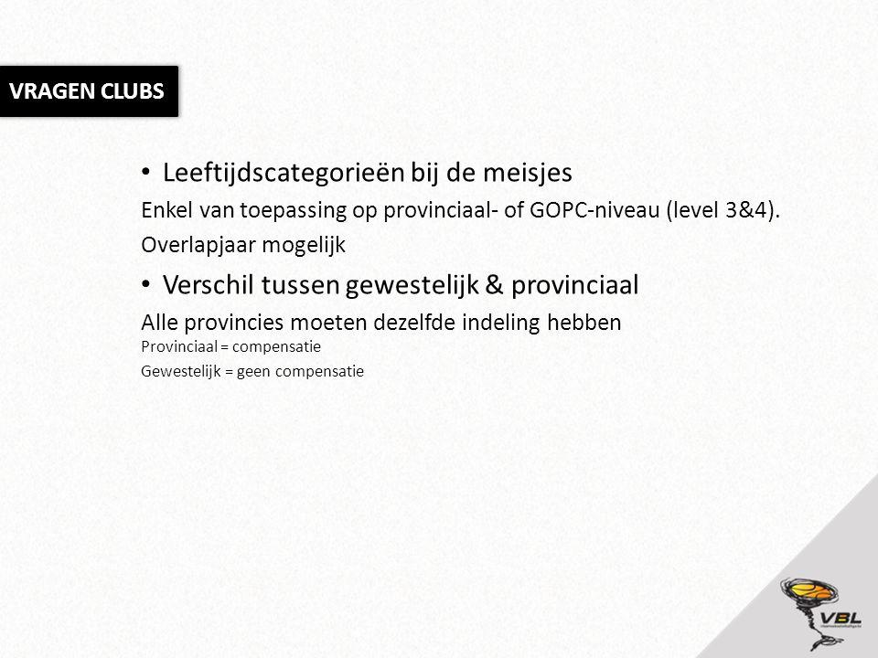 Leeftijdscategorieën bij de meisjes Enkel van toepassing op provinciaal- of GOPC-niveau (level 3&4). Overlapjaar mogelijk Verschil tussen gewestelijk