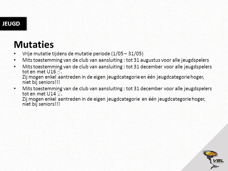 Mutaties Vrije mutatie tijdens de mutatie periode (1/05 – 31/05) Mits toestemming van de club van aansluiting : tot 31 augustus voor alle jeugdspelers