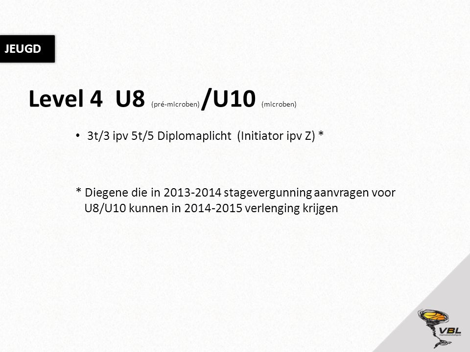 Level 4 U8 (pré-microben) /U10 (microben) 3t/3 ipv 5t/5 Diplomaplicht (Initiator ipv Z) * * Diegene die in 2013-2014 stagevergunning aanvragen voor U8