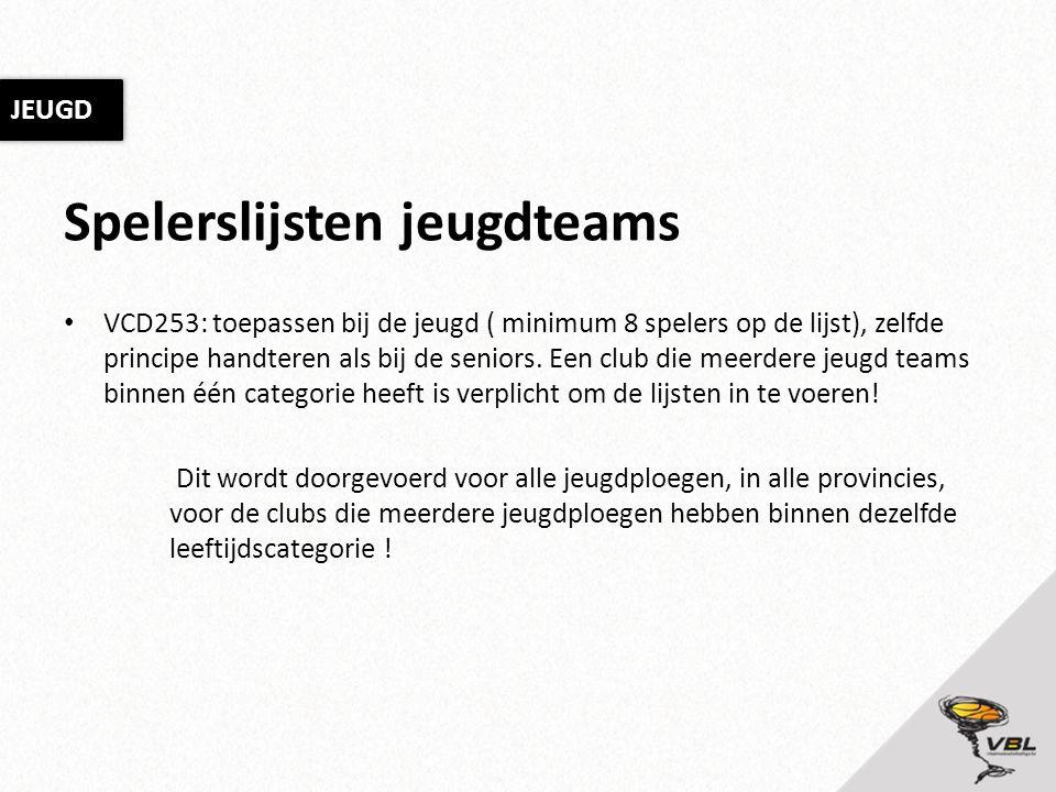 Spelerslijsten jeugdteams VCD253: toepassen bij de jeugd ( minimum 8 spelers op de lijst), zelfde principe handteren als bij de seniors. Een club die