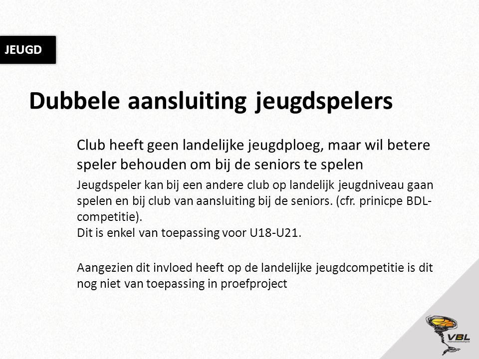 Dubbele aansluiting jeugdspelers Club heeft geen landelijke jeugdploeg, maar wil betere speler behouden om bij de seniors te spelen Jeugdspeler kan bi