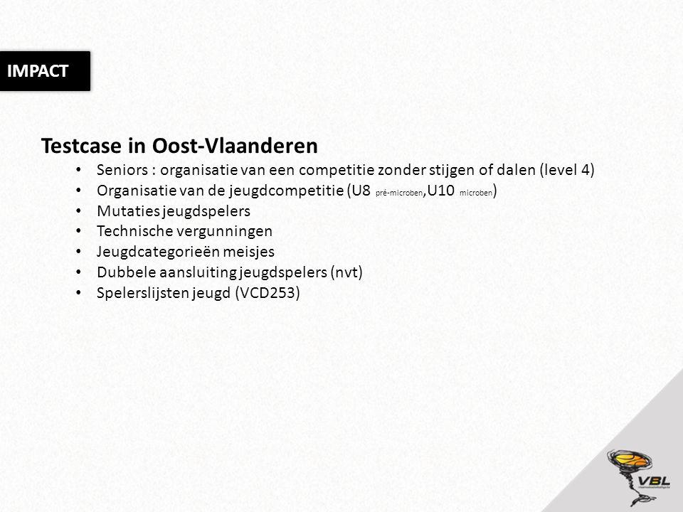 Testcase in Oost-Vlaanderen Seniors : organisatie van een competitie zonder stijgen of dalen (level 4) Organisatie van de jeugdcompetitie (U8 pré-micr