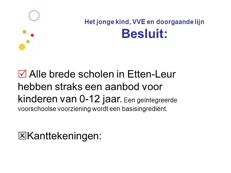 Het jonge kind, VVE en doorgaande lijn Besluit:  Alle brede scholen in Etten-Leur hebben straks een aanbod voor kinderen van 0-12 jaar. Een geïntegre