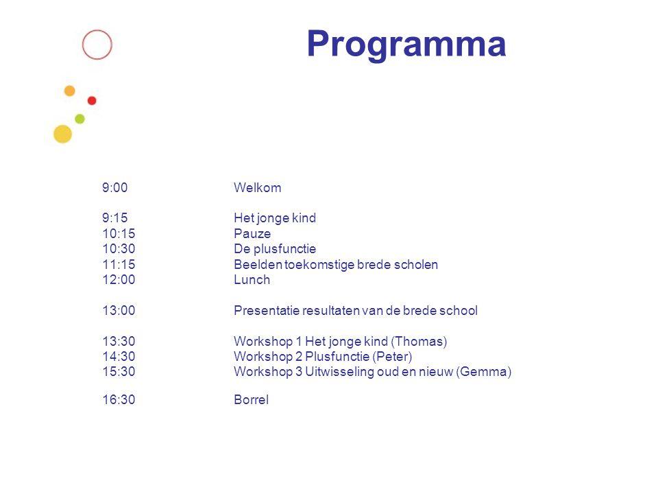 Programma 9:00 Welkom 9:15Het jonge kind 10:15 Pauze 10:30 De plusfunctie 11:15 Beelden toekomstige brede scholen 12:00Lunch 13:00Presentatie resultat