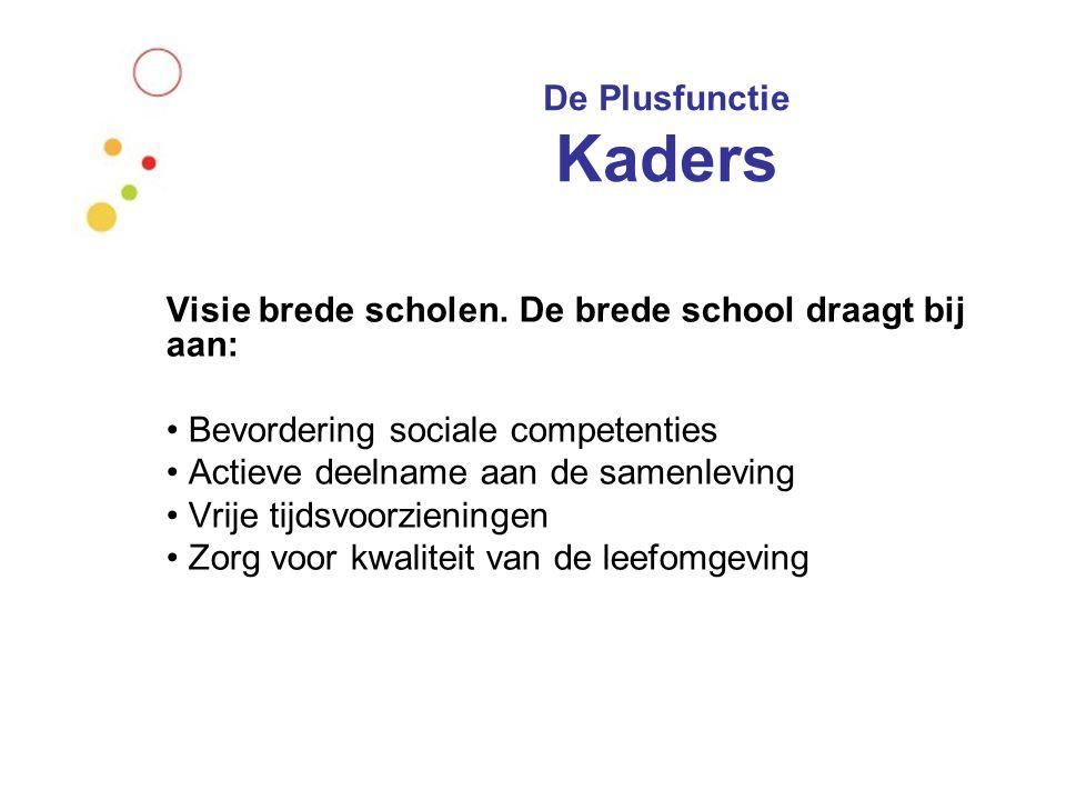 De Plusfunctie Kaders Visie brede scholen. De brede school draagt bij aan: Bevordering sociale competenties Actieve deelname aan de samenleving Vrije