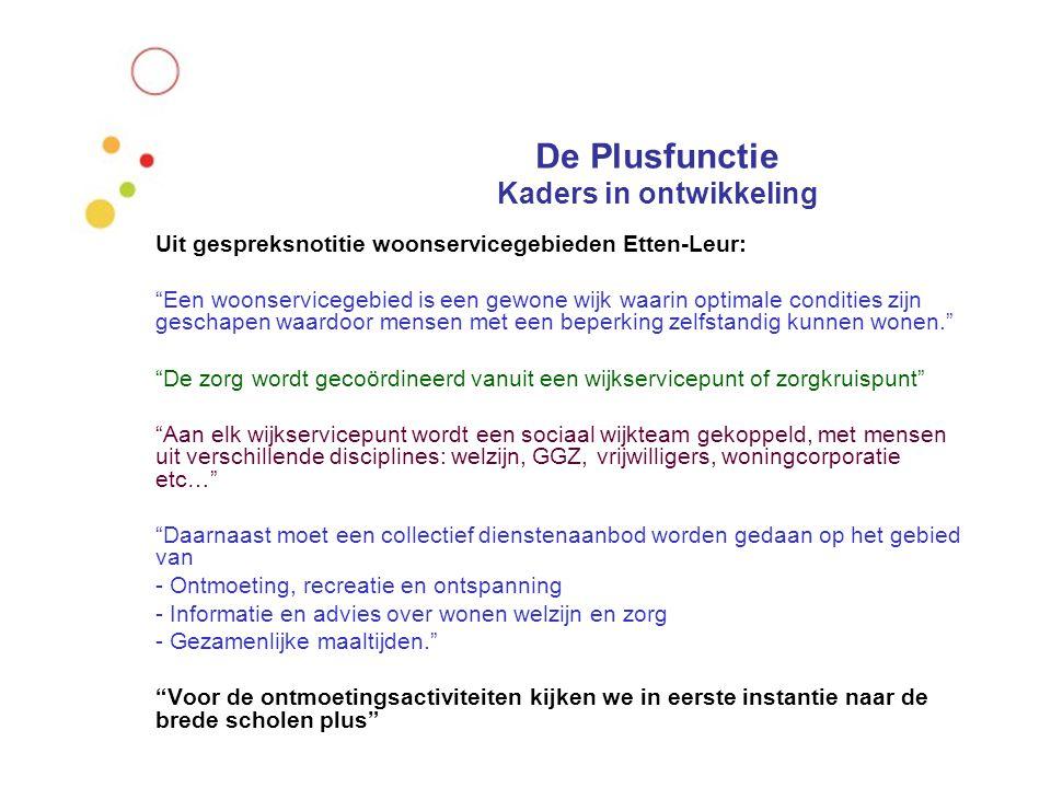 """De Plusfunctie Kaders in ontwikkeling Uit gespreksnotitie woonservicegebieden Etten-Leur: """"Een woonservicegebied is een gewone wijk waarin optimale co"""