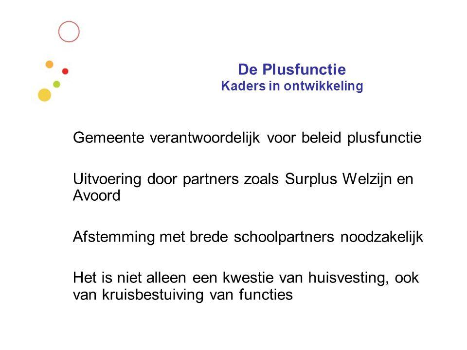 De Plusfunctie Kaders in ontwikkeling Gemeente verantwoordelijk voor beleid plusfunctie Uitvoering door partners zoals Surplus Welzijn en Avoord Afste