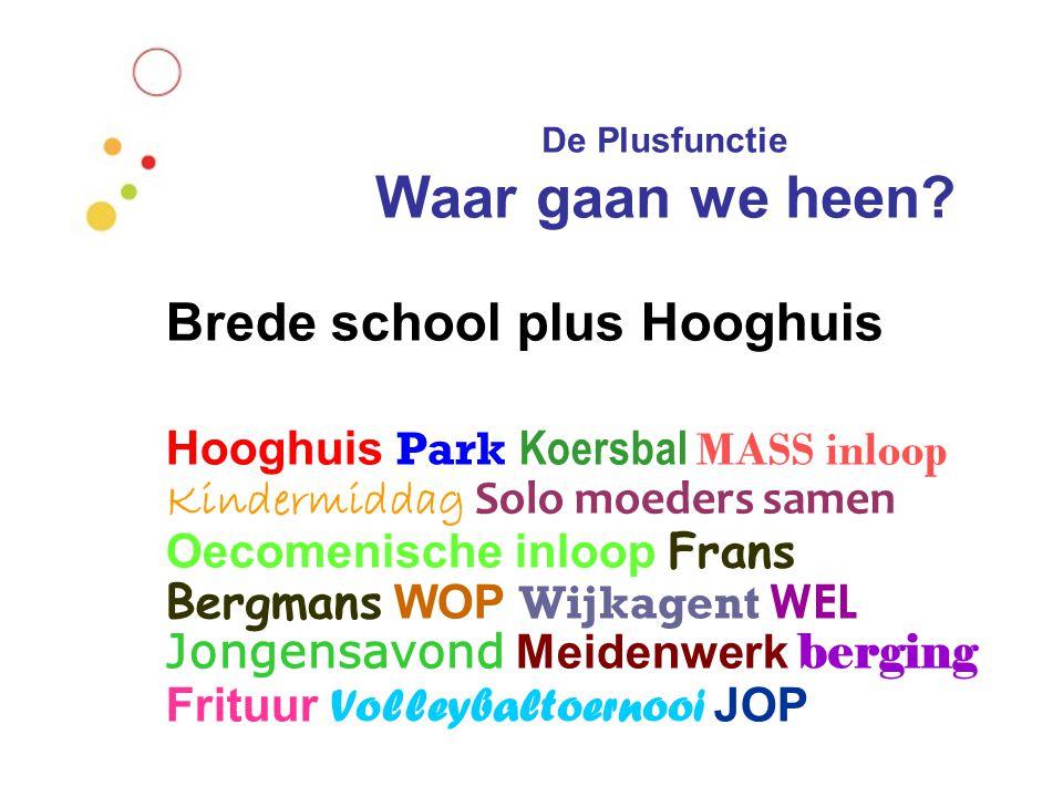 Brede school plus Hooghuis Hooghuis Park Koersbal MASS inloop Kindermiddag Solo moeders samen Oecomenische inloop Frans Bergmans WOP Wijkagent WEL Jon