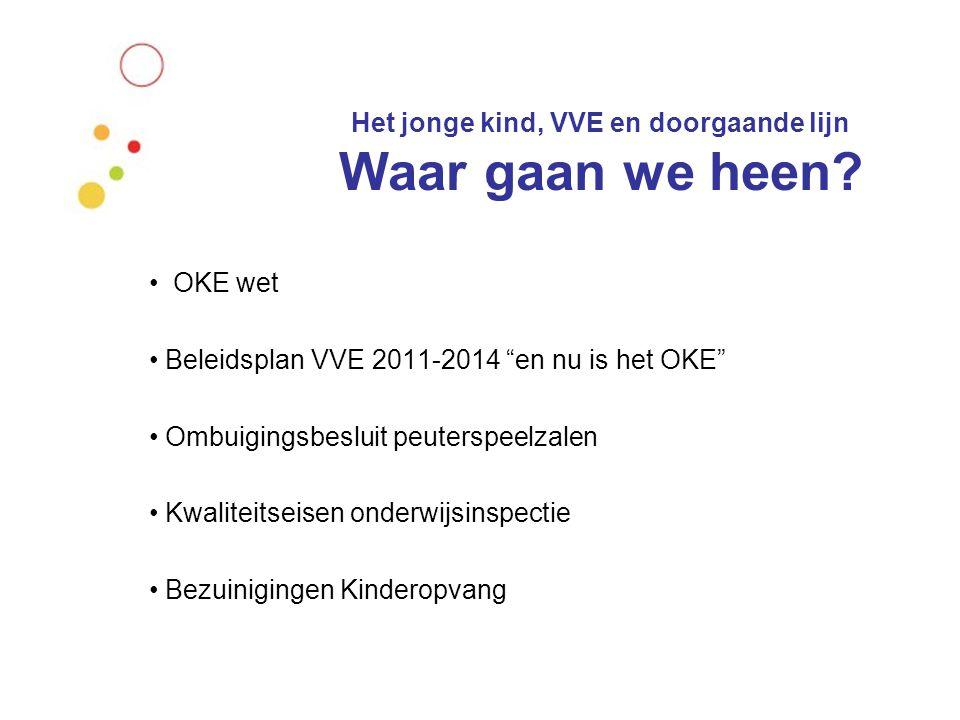 Het jonge kind, VVE en doorgaande lijn Besluit:  Alle voorschoolse instellingen aangesloten bij de brede scholen voldoen aan de wet OKE en dragen bij aan het VVE beleid zoals geformuleerd in het beleidsplan 2011-2014  Kanttekeningen: