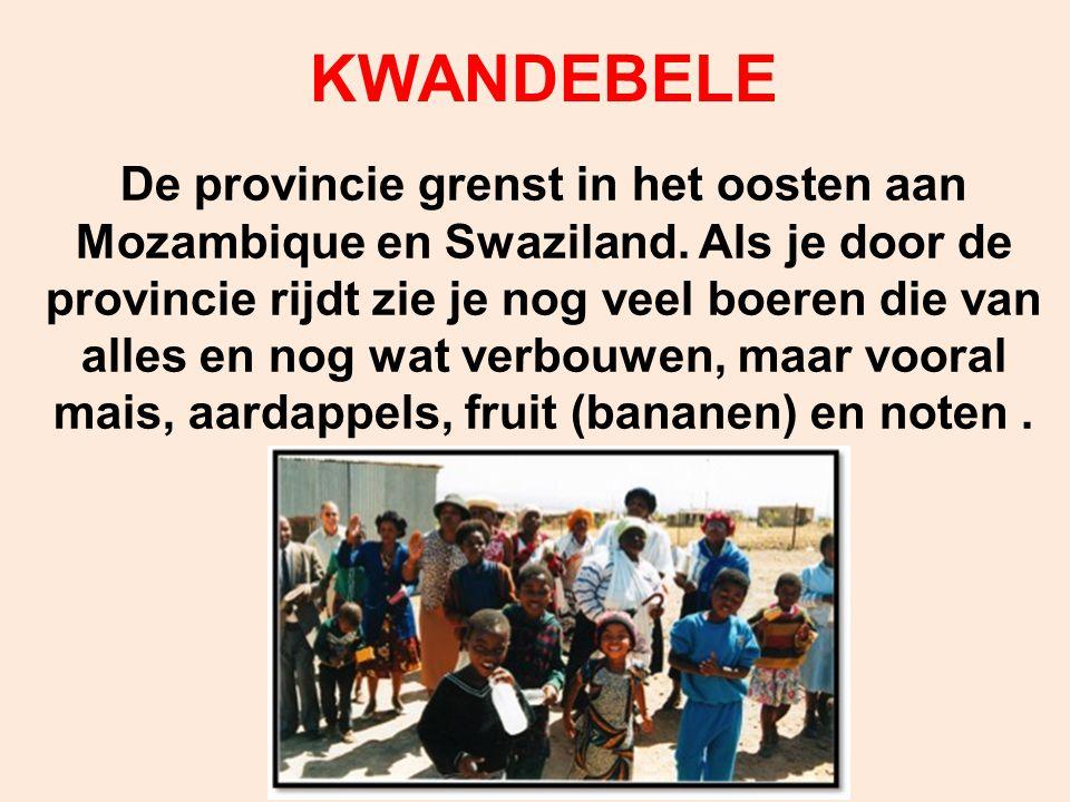 KWANDEBELE De provincie grenst in het oosten aan Mozambique en Swaziland. Als je door de provincie rijdt zie je nog veel boeren die van alles en nog w