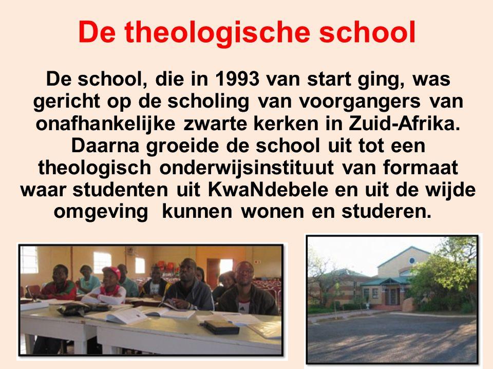 De theologische school De school, die in 1993 van start ging, was gericht op de scholing van voorgangers van onafhankelijke zwarte kerken in Zuid-Afri