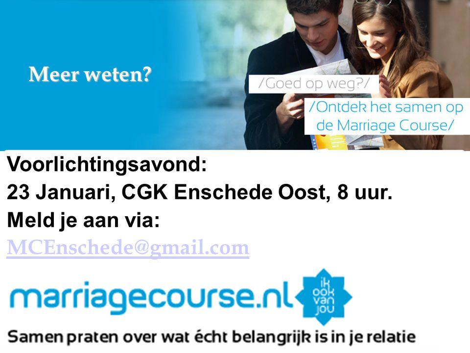 Meer weten? Voorlichtingsavond: 23 Januari, CGK Enschede Oost, 8 uur. Meld je aan via: MCEnschede@gmail.com of