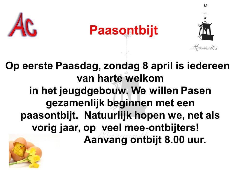 Op eerste Paasdag, zondag 8 april is iedereen van harte welkom in het jeugdgebouw. We willen Pasen gezamenlijk beginnen met een paasontbijt. Natuurlij