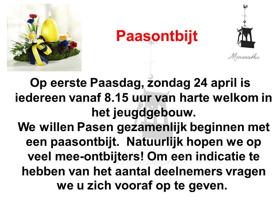 Op eerste Paasdag, zondag 24 april is iedereen vanaf 8.15 uur van harte welkom in het jeugdgebouw. We willen Pasen gezamenlijk beginnen met een paason