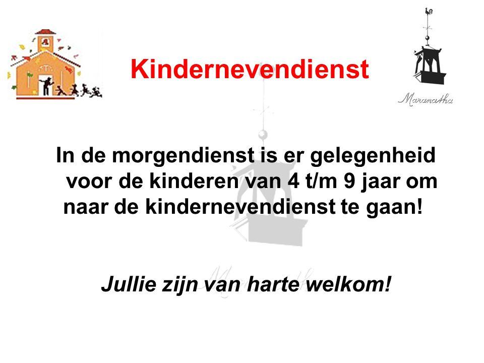 In de morgendienst is er gelegenheid voor de kinderen van 4 t/m 9 jaar om naar de kindernevendienst te gaan! Jullie zijn van harte welkom! Kinderneven