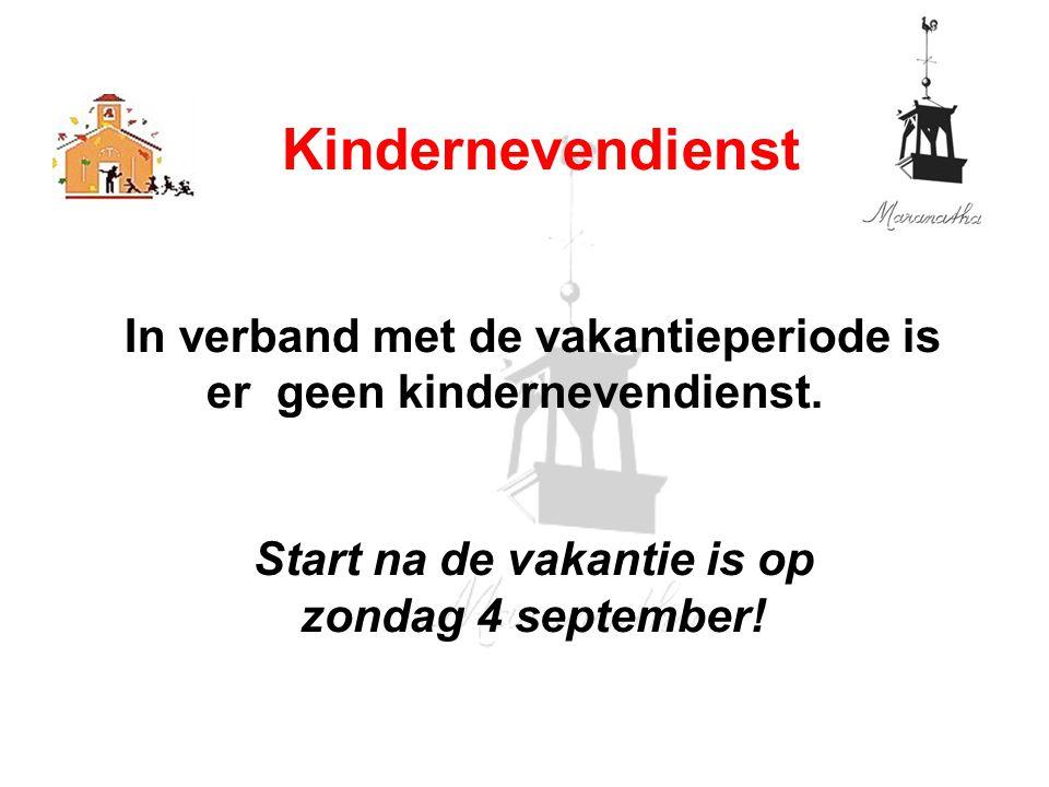 In verband met de vakantieperiode is er geen kindernevendienst. Start na de vakantie is op zondag 4 september! Kindernevendienst
