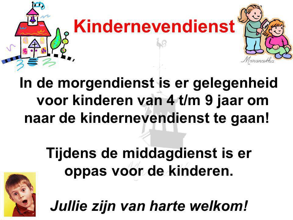In de morgendienst is er gelegenheid voor kinderen van 4 t/m 9 jaar om naar de kindernevendienst te gaan.