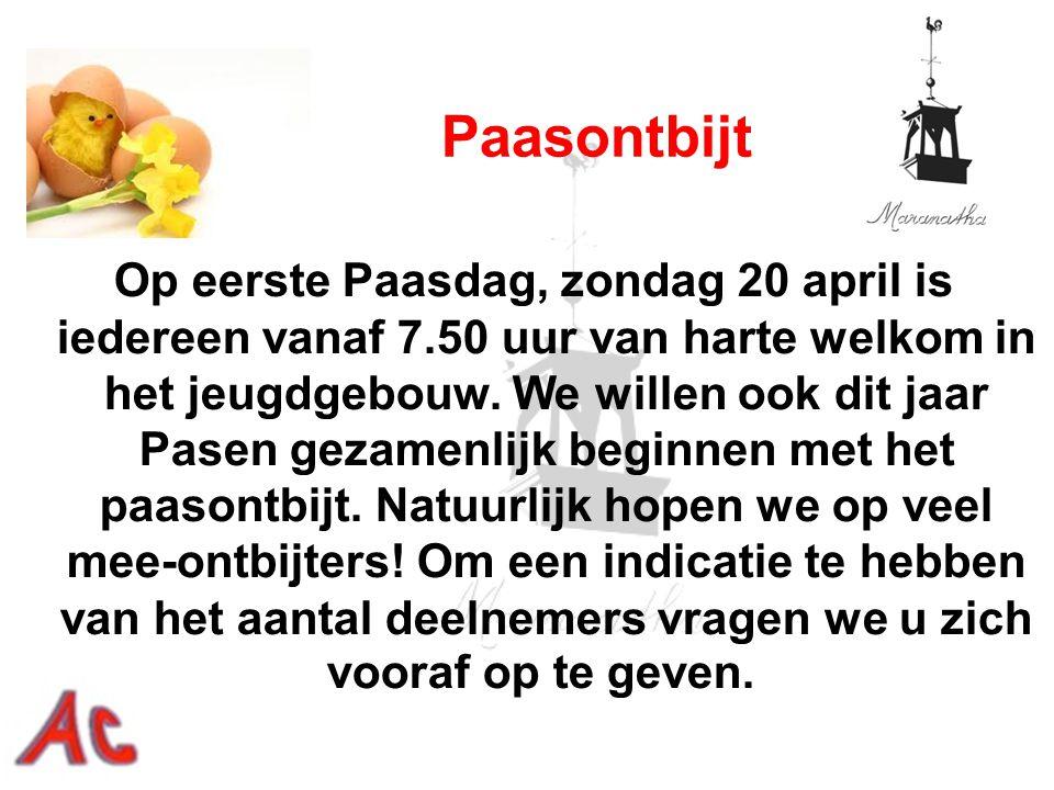 Op eerste Paasdag, zondag 20 april is iedereen vanaf 7.50 uur van harte welkom in het jeugdgebouw. We willen ook dit jaar Pasen gezamenlijk beginnen m