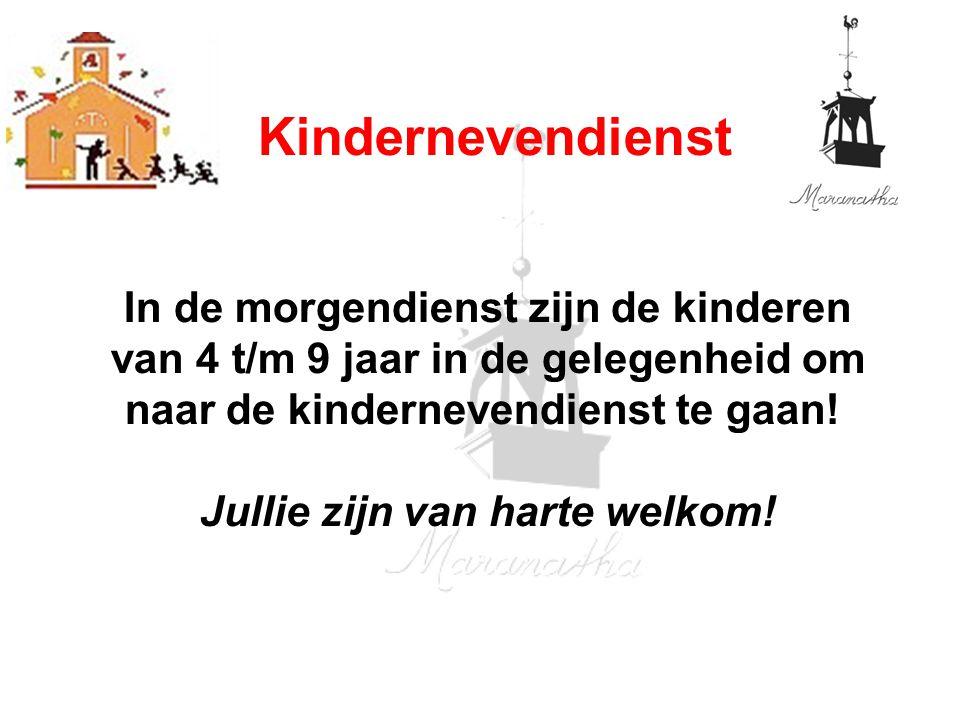 In de morgendienst zijn de kinderen van 4 t/m 9 jaar in de gelegenheid om naar de kindernevendienst te gaan.