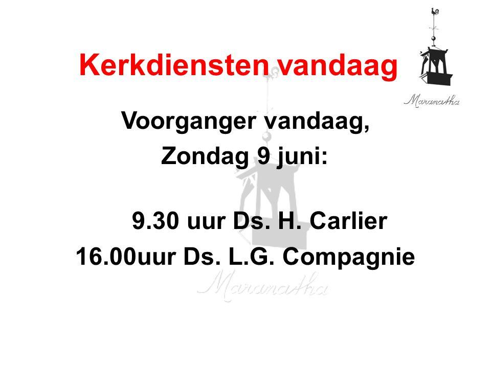 Voorganger vandaag, Zondag 9 juni: 9.30 uur Ds. H.