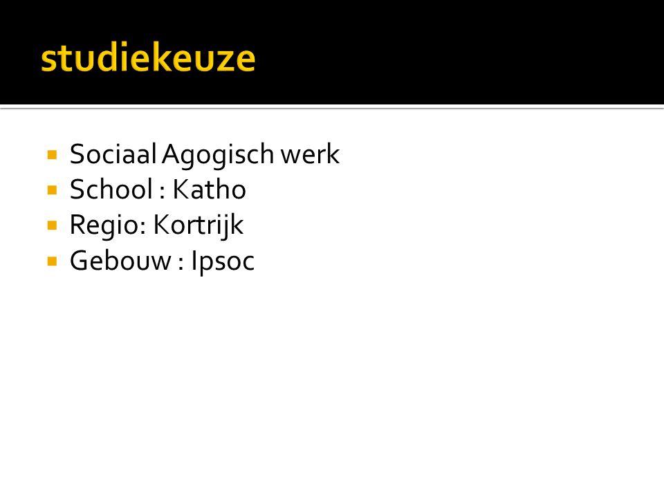  Sociaal Agogisch werk  School : Katho  Regio: Kortrijk  Gebouw : Ipsoc