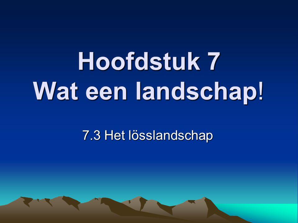 Indeling van de les: SO Topografie Nederlandse landschappen Herhaling vorige les Woordspin (Voorkennis ophalen) Bespreken §7.3 Het lösslandschap Filmpje Het huiswerk De afsluiting