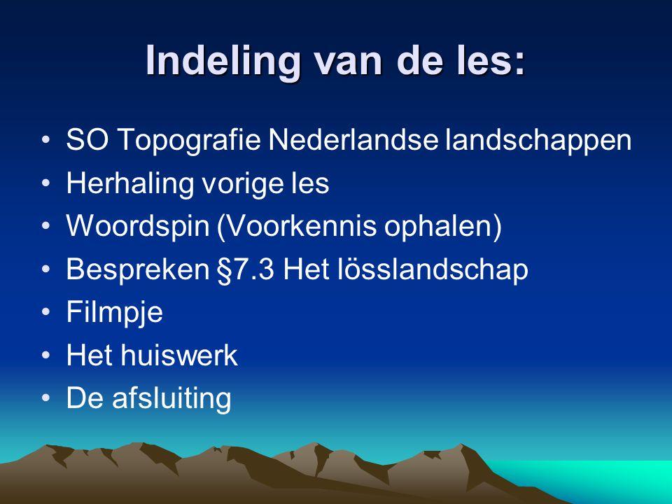 Indeling van de les: SO Topografie Nederlandse landschappen Herhaling vorige les Woordspin (Voorkennis ophalen) Bespreken §7.3 Het lösslandschap Filmp