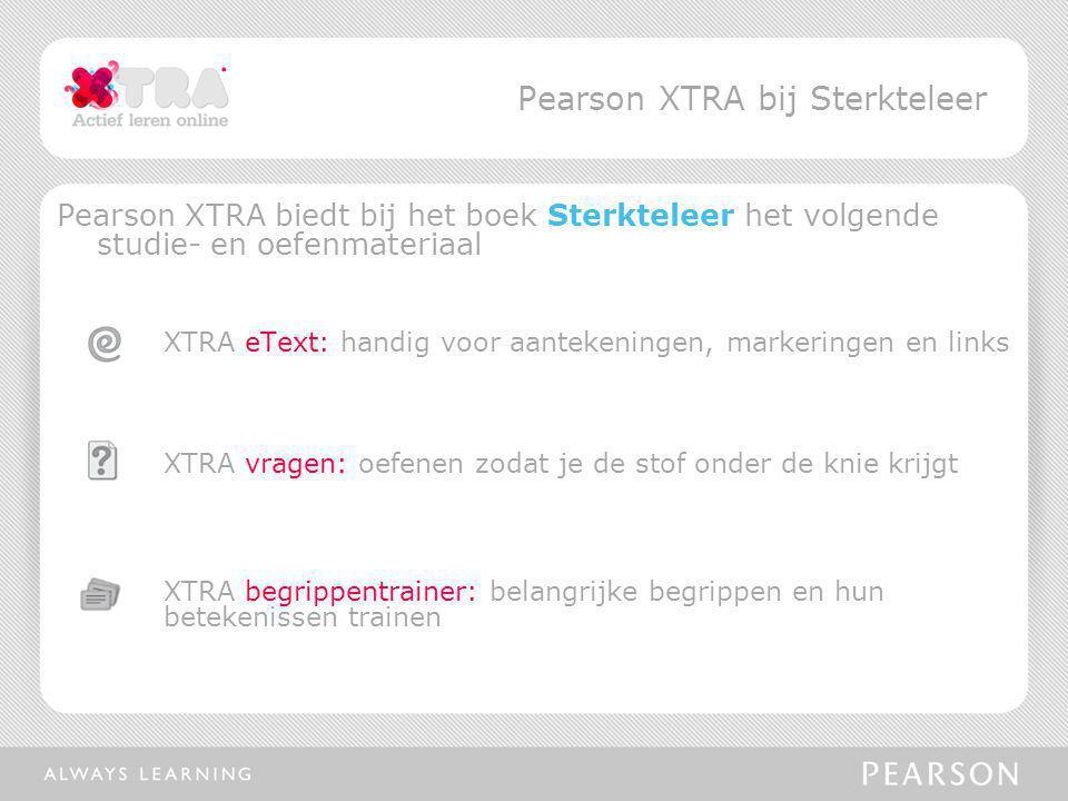 Pearson XTRA biedt bij het boek Sterkteleer het volgende studie- en oefenmateriaal XTRA eText: handig voor aantekeningen, markeringen en links XTRA vr