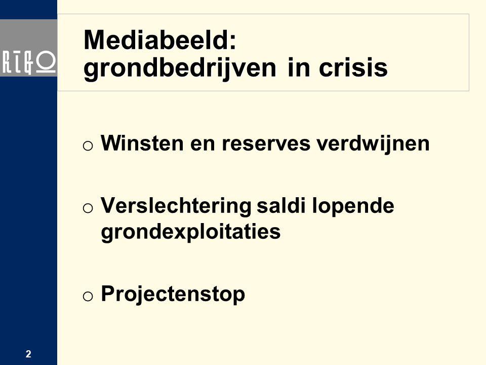 Mediabeeld: grondbedrijven in crisis o Winsten en reserves verdwijnen o Verslechtering saldi lopende grondexploitaties o Projectenstop 2