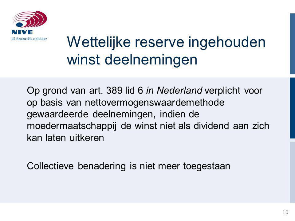 10 Wettelijke reserve ingehouden winst deelnemingen Op grond van art.