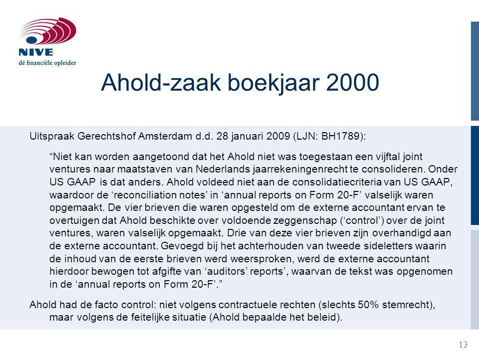 13 Ahold-zaak boekjaar 2000 Uitspraak Gerechtshof Amsterdam d.d.