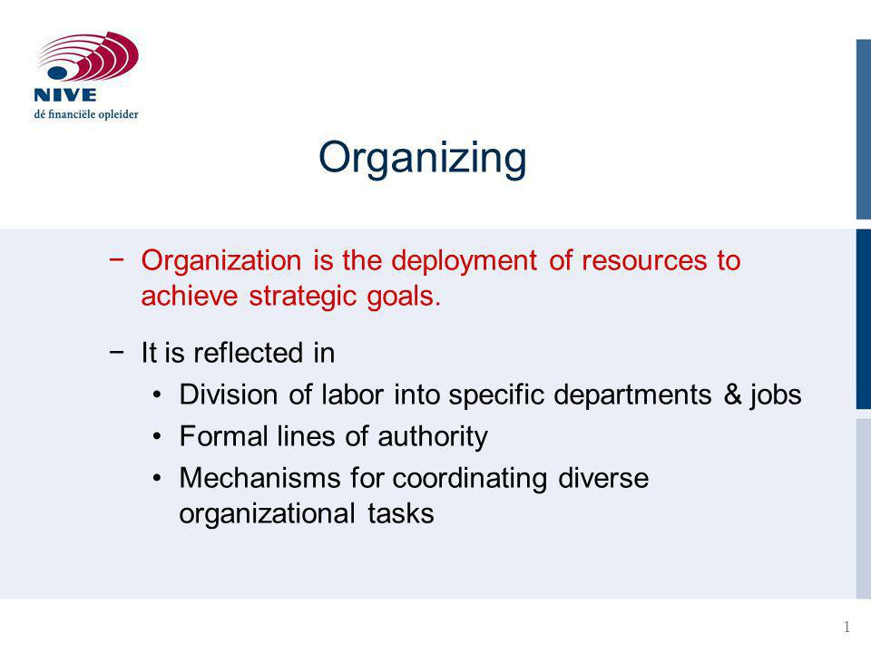 2 Organization Structure Defines how tasks are divided, resources are deployed, and departments are coordinated ●Set of formal tasks assigned ●Formal reporting relationships ●The design of systems to ensure effective coordination of employees across departments