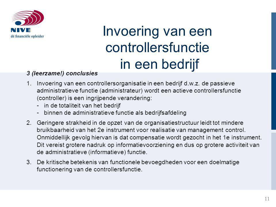 11 Invoering van een controllersfunctie in een bedrijf 3 (leerzame!) conclusies 1.Invoering van een controllersorganisatie in een bedrijf d.w.z. de pa