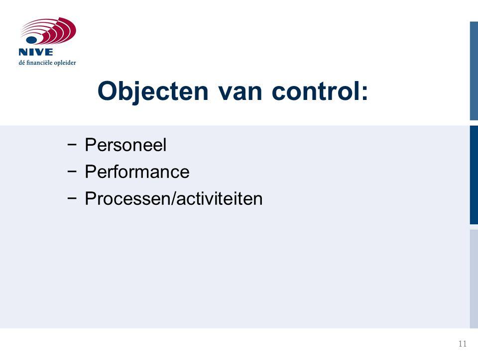 11 Objecten van control: −Personeel −Performance −Processen/activiteiten