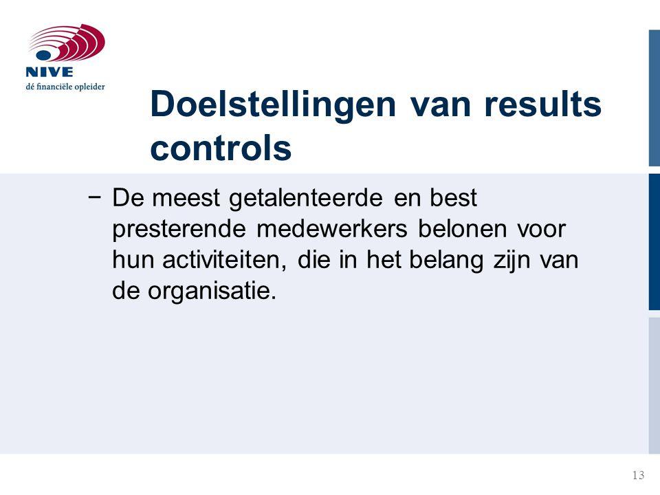13 Doelstellingen van results controls −De meest getalenteerde en best presterende medewerkers belonen voor hun activiteiten, die in het belang zijn v