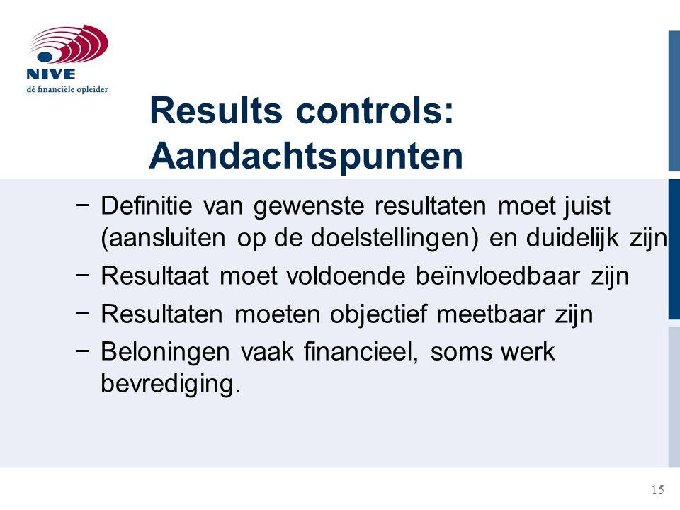 15 Results controls: Aandachtspunten −Definitie van gewenste resultaten moet juist (aansluiten op de doelstellingen) en duidelijk zijn −Resultaat moet