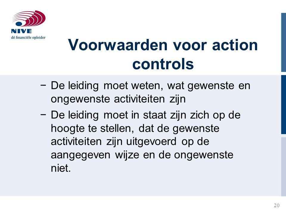 20 Voorwaarden voor action controls −De leiding moet weten, wat gewenste en ongewenste activiteiten zijn −De leiding moet in staat zijn zich op de hoo