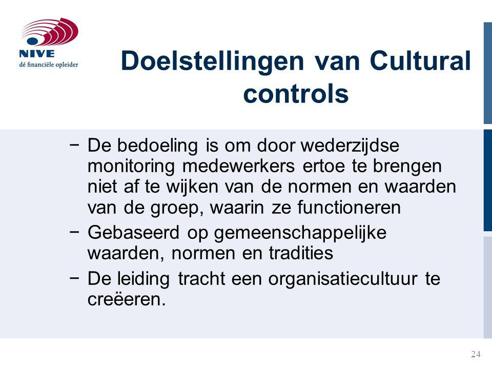 24 Doelstellingen van Cultural controls −De bedoeling is om door wederzijdse monitoring medewerkers ertoe te brengen niet af te wijken van de normen e