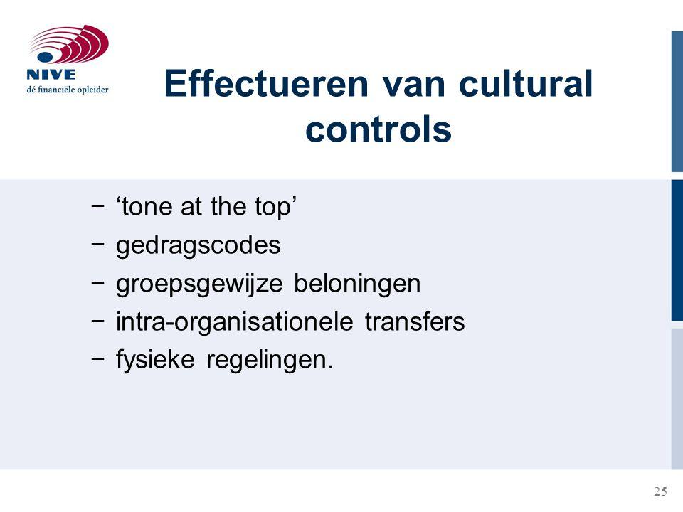 25 Effectueren van cultural controls −'tone at the top' −gedragscodes −groepsgewijze beloningen −intra-organisationele transfers −fysieke regelingen.
