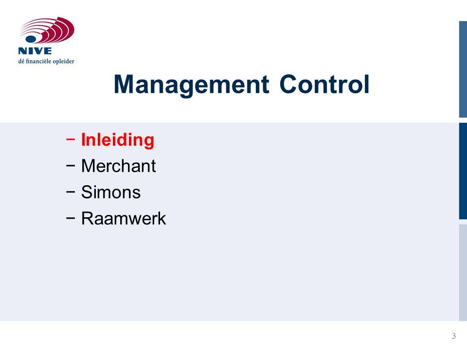 3 Management Control − Inleiding − Merchant − Simons − Raamwerk