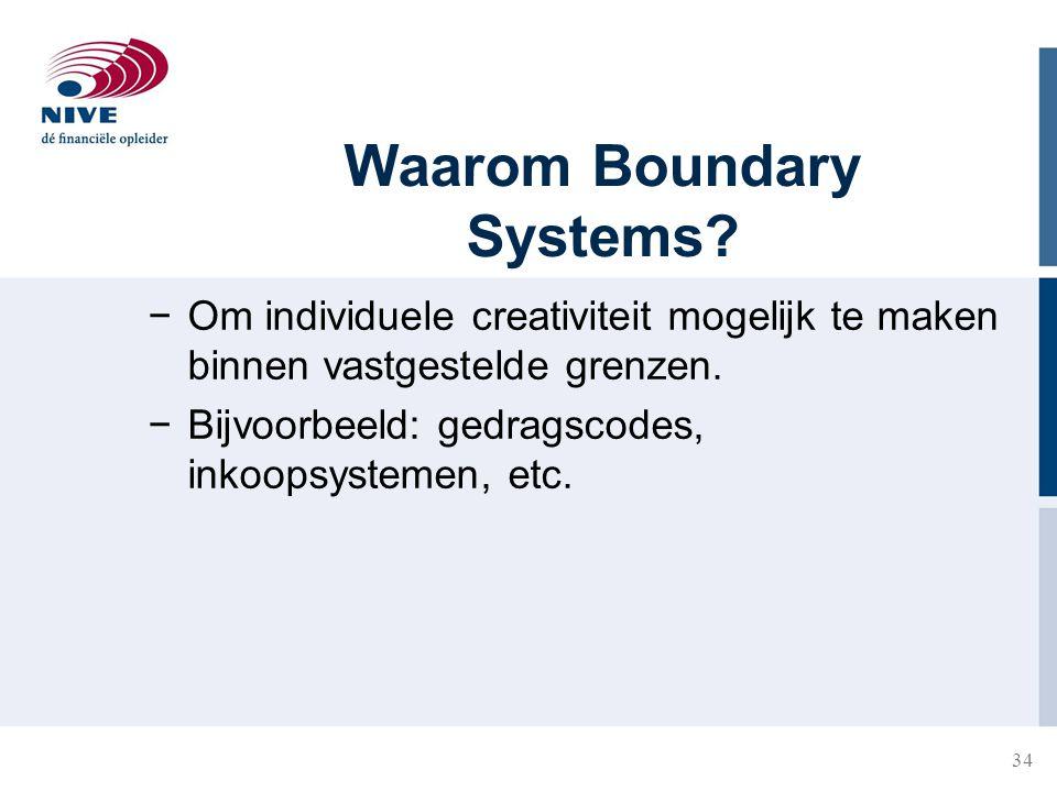 34 Waarom Boundary Systems? −Om individuele creativiteit mogelijk te maken binnen vastgestelde grenzen. −Bijvoorbeeld: gedragscodes, inkoopsystemen, e