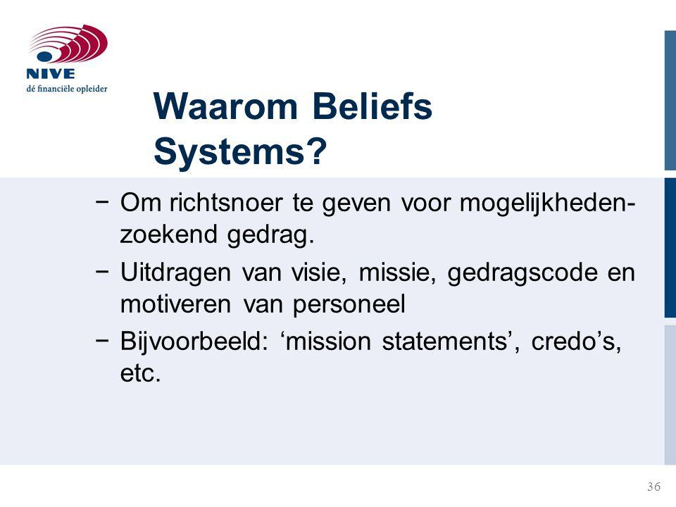 36 Waarom Beliefs Systems? −Om richtsnoer te geven voor mogelijkheden- zoekend gedrag. −Uitdragen van visie, missie, gedragscode en motiveren van pers