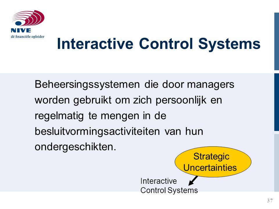 37 Interactive Control Systems Beheersingssystemen die door managers worden gebruikt om zich persoonlijk en regelmatig te mengen in de besluitvormings