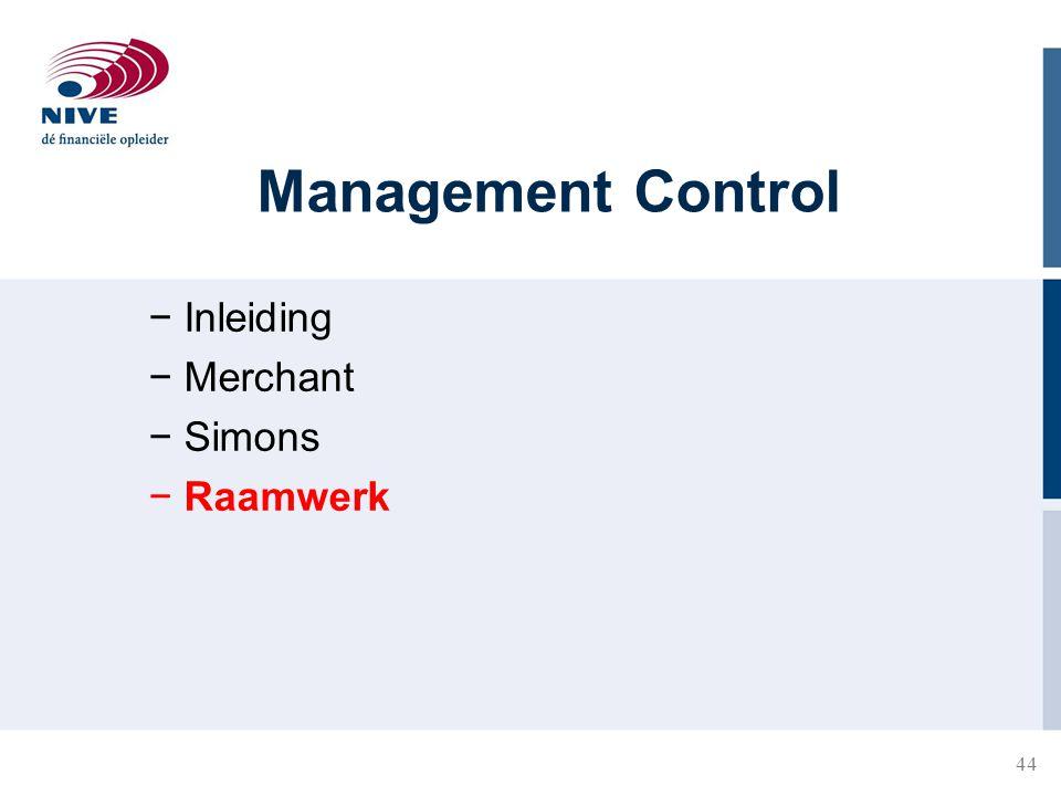 44 Management Control − Inleiding − Merchant − Simons − Raamwerk