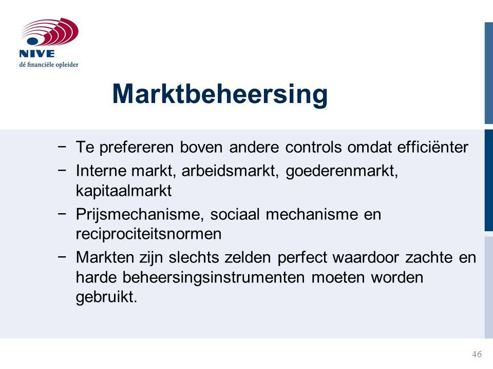 46 Marktbeheersing −Te prefereren boven andere controls omdat efficiënter −Interne markt, arbeidsmarkt, goederenmarkt, kapitaalmarkt −Prijsmechanisme,