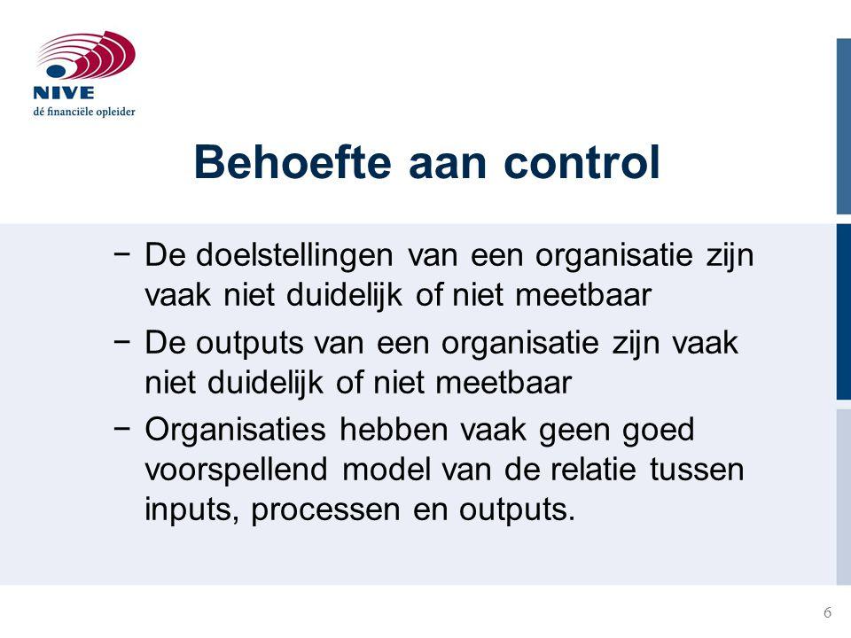 6 Behoefte aan control −De doelstellingen van een organisatie zijn vaak niet duidelijk of niet meetbaar −De outputs van een organisatie zijn vaak niet