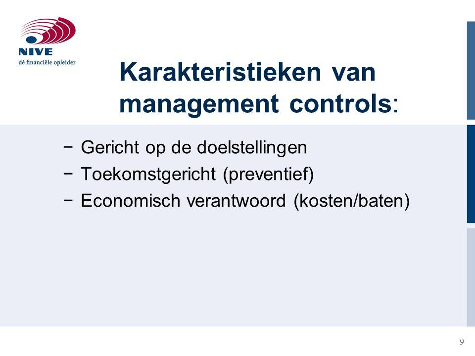 9 Karakteristieken van management controls: −Gericht op de doelstellingen −Toekomstgericht (preventief) −Economisch verantwoord (kosten/baten)