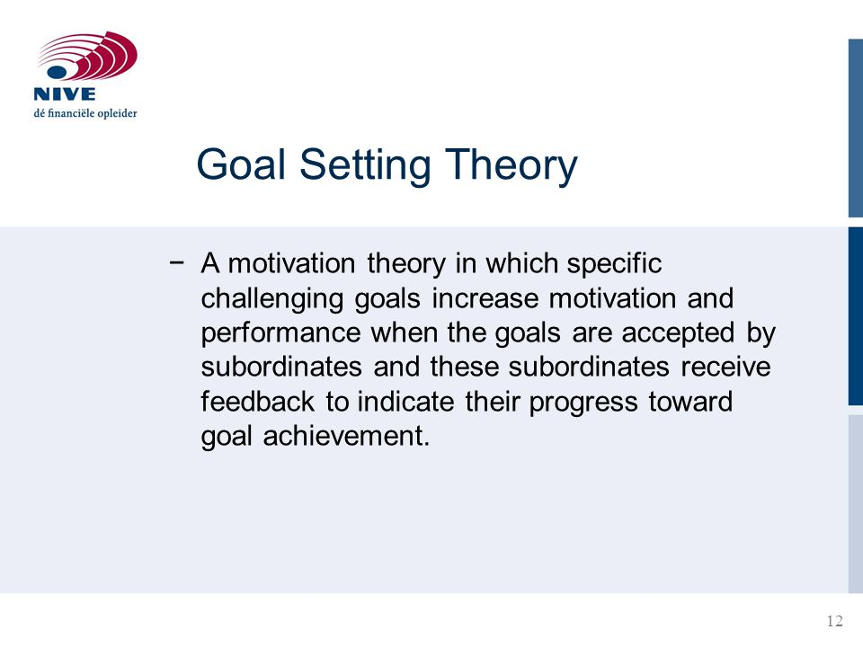 12 Goal Setting Theory −A motivation theory in which specific challenging goals increase motivation and performance when the goals are accepted by sub