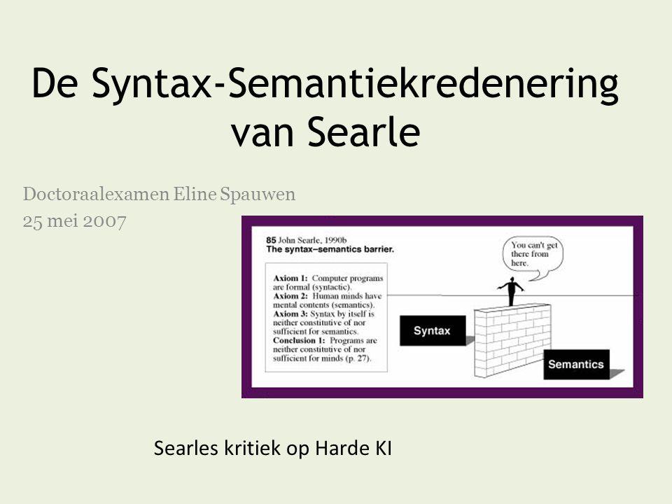 De Syntax-Semantiekredenering van Searle Doctoraalexamen Eline Spauwen 25 mei 2007 Searles kritiek op Harde KI