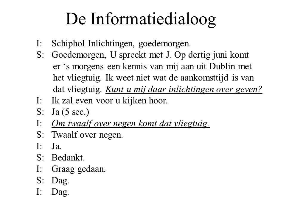 De Informatiedialoog I: Schiphol Inlichtingen, goedemorgen. S: Goedemorgen, U spreekt met J. Op dertig juni komt er 's morgens een kennis van mij aan